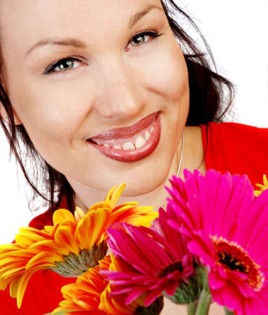 smiling woman with flowers photo