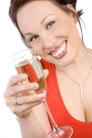 Happy smiling brunette with champagne photo