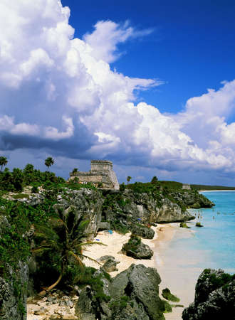 tulum: Tulum mayan ruins and beach,Mexico. Stock Photo