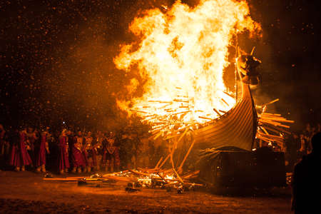 Up Helly Aa burning galley ship. Up Helly Aa is a viking fire festival unique to the Shetland Isles, North of Scotland, UK.