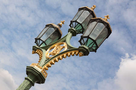 Interesting street lights in central London along the Thames, England, UK.