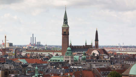 Cityscape views from the top of the Round Tower in Copenhagen, Denmark. Stock Photo