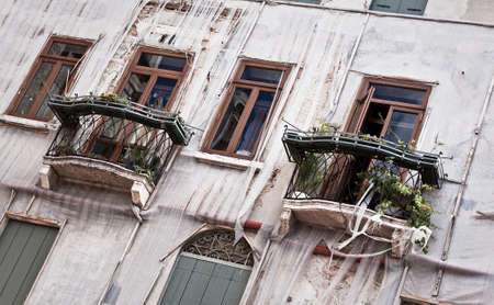 Interesting balconies in Venice, Italy.