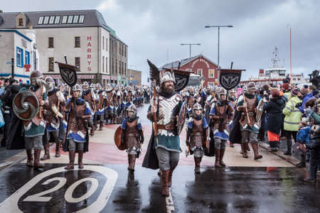 Lerwick, Shetland Isles, Scotland, UK. 30th January 2018. Up Helly Aa Guizer Jarl Stewart Jamieson (aka Thorvald Thorvaldsson). Up Helly Aa is a viking fire festival unique to the Shetland Isles.