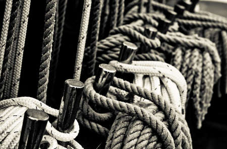 Nautical ropes of a tall ship.