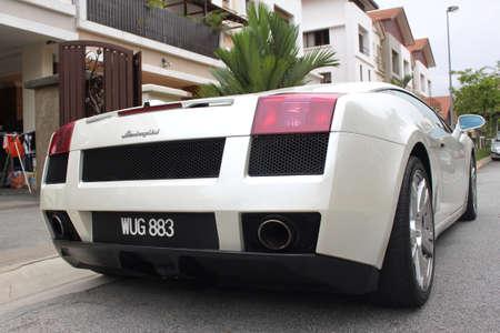 gallardo: Back view of Lamborghini Gallardo sport car