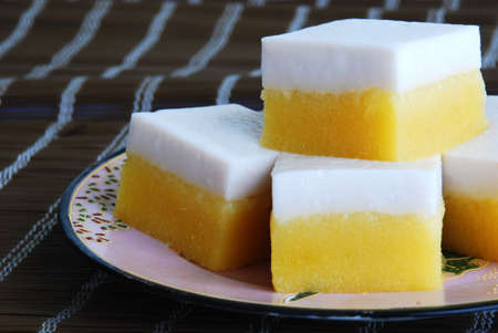 flavoursome: Asian delights, Nyonya kueh - Ubi Talam (potato cake) Stock Photo