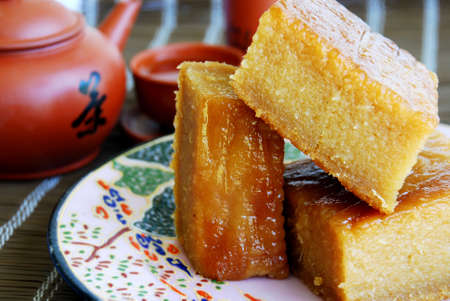 starchy food: Asian delights, nyonya kueh - Bingka Ubi (Cassava Cake)