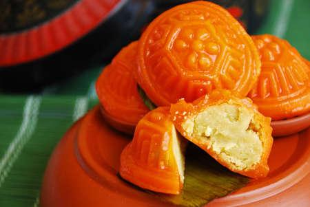 Asian delights, nyonya kueh - Kueh Ang Koo (red koo turtle cake) Stock Photo