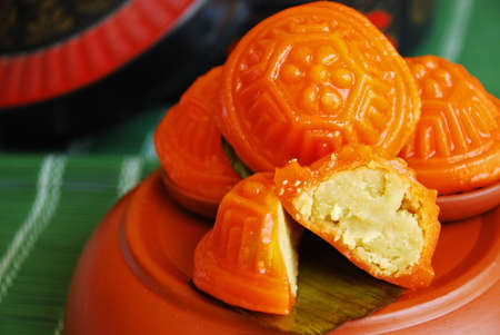 Asian delights, nyonya kueh - Kueh Ang Koo (red koo turtle cake) Stock Photo