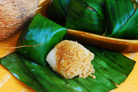 Asian delights, nyonya kueh - Pulut Inti (coconut glutinous rice cake) Stock Photo