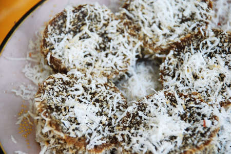 Asian delights, nyonya kueh - Kueh Kosui (Palm sugar cake) Stock Photo