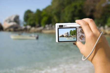 photographing beach - boat - summer Stock Photo - 3158958