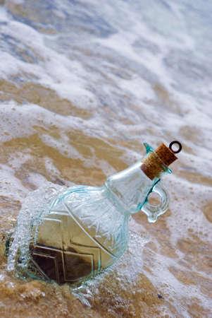 bove: Beautiful bottle lying on beach