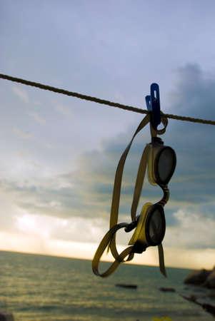 unsure: Googles hanging - laundry clip