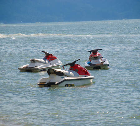 jetski: Jetski floating on water, beach - Penang