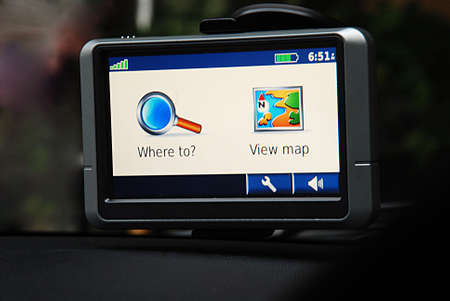 GPS system in car, direction map