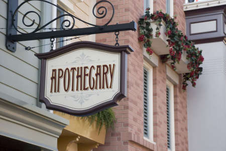 Apothecary signage - storefront display close up