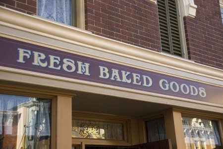 signage outdoor: fresh baked goods display signage
