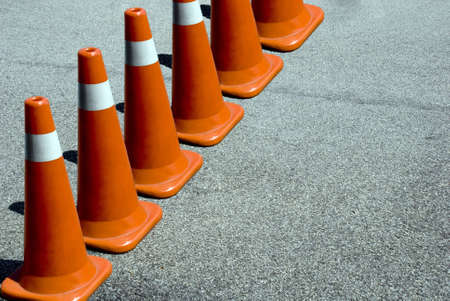 obstruct: A row of orange cone