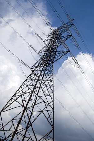 High voltage electrical cables - powerline Stock Photo