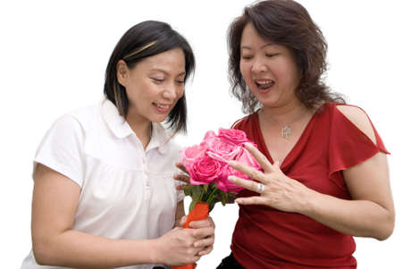 Giving flowers family member Stock Photo - 4411707