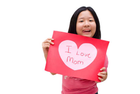 Girl in pink shirt, with i love mom message board on white background