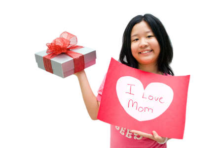 constancy: Girl in pink shirt, with i love mom message board on white background