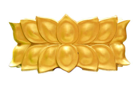 Golden lotus carving on white background