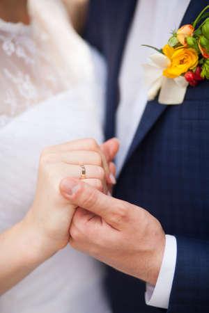 closeup of hands of bridal unrecognizable couple.  love concept. family lifestyle photo