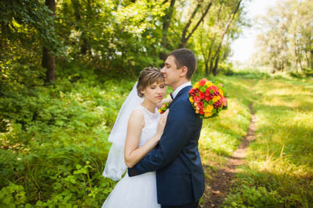 people in nature: happy bride, groom standing in green park, kissing, smiling, laughing, embracing. lovers in wedding day. happy young couple in love. beautiful healthy people. nature green background