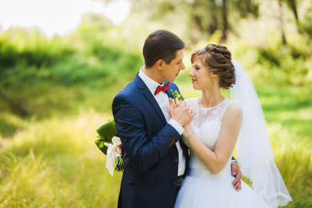 people and nature: happy bride, groom standing in green park, kissing, smiling, laughing, embracing. lovers in wedding day. happy young couple in love. beautiful healthy people. nature green background