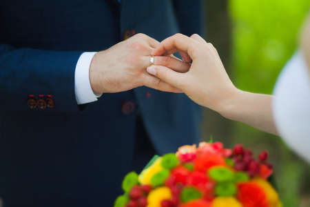 Wedding Rings And Hands Of Bride And Groom Young Wedding Couple