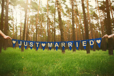 pareja casada: Anonymous recién casado Holding festiva Inscripción en Manos