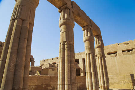 archaeologies: Ancient Karnak Temple in Luxor, Egypt. Photo shot in 2017. Horizontal colour image. Stock Photo