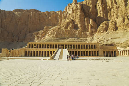 LUXOR, EGYPT - 15 JANUARY 2017: Ancient the Valley of the Queens Temple and tourists