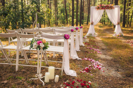Beautiful Elegant Wedding Decorations Of Place For Ceremony Outside In Old Wood With Huge Pines Trees