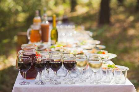 Catering for outdoors party or picnic. Closeup view of glasses with red and white wine and blurry appetizers on plates in background.