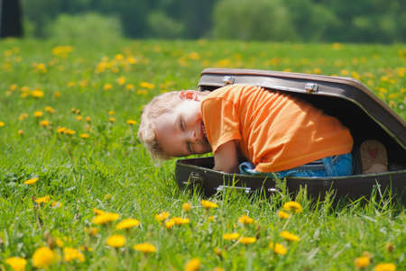Cute little funny child trying to hide inside of vintage brown suitcase. Boy laughs and smiles happily while playing outdoors on green grass lawn full of yellow dandelion flowers on sunny spring day.