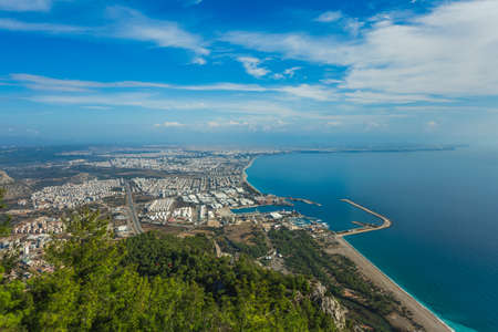 Beautiful bird view at Antalya city in Turkey and amazing blue sky and sea water. Horizontal color photography.