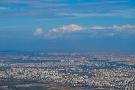 Aerial view at beautiful Antalya city, Turkey. Horizontal color photography.