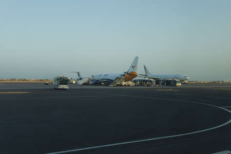 SHARM EL SHEIKH, EGYPT - 21 MAY 2018: View at planes from window of terminal of Egyptian airport.