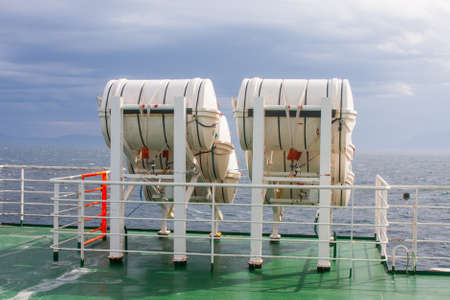 ferrying: Six life-saver barrels to rescue people from cruiser