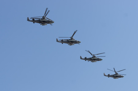 Russian Army, Kamov Ka-50 Black Shark helicopters fly in formation Editorial