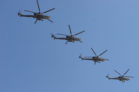Russian Army Mi-28 Havock helicopters fly in formation Editorial