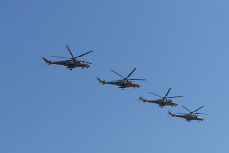 Russian Army Mi-24 Hind helicopters