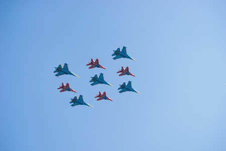 Russian Airforce Aerobatic Team Russian Knights MIG-29 and SU-27 aircraft fly in formation Editöryel