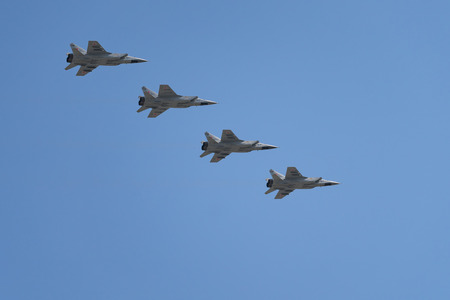 Russian Airforce MIG-31 Foxhound interceptor aircraft 에디토리얼