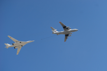 Russian Airforce Il-78 aerial tanker refueling a Tupolev TU-160 Bomber