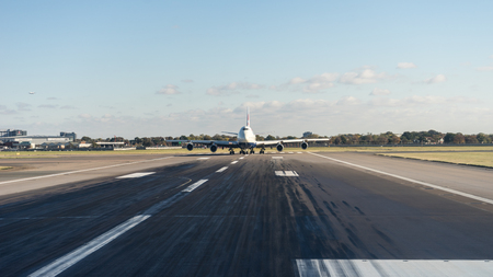 British Airways 747 waits for take off at Heathrow Airport